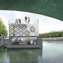 Bâtiment flottant Fluctuart vu du pont ©Seine Design